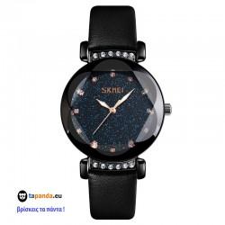 Ρολόι χειρός γυναικείο SKMEI 9188 BLACK LEATHER